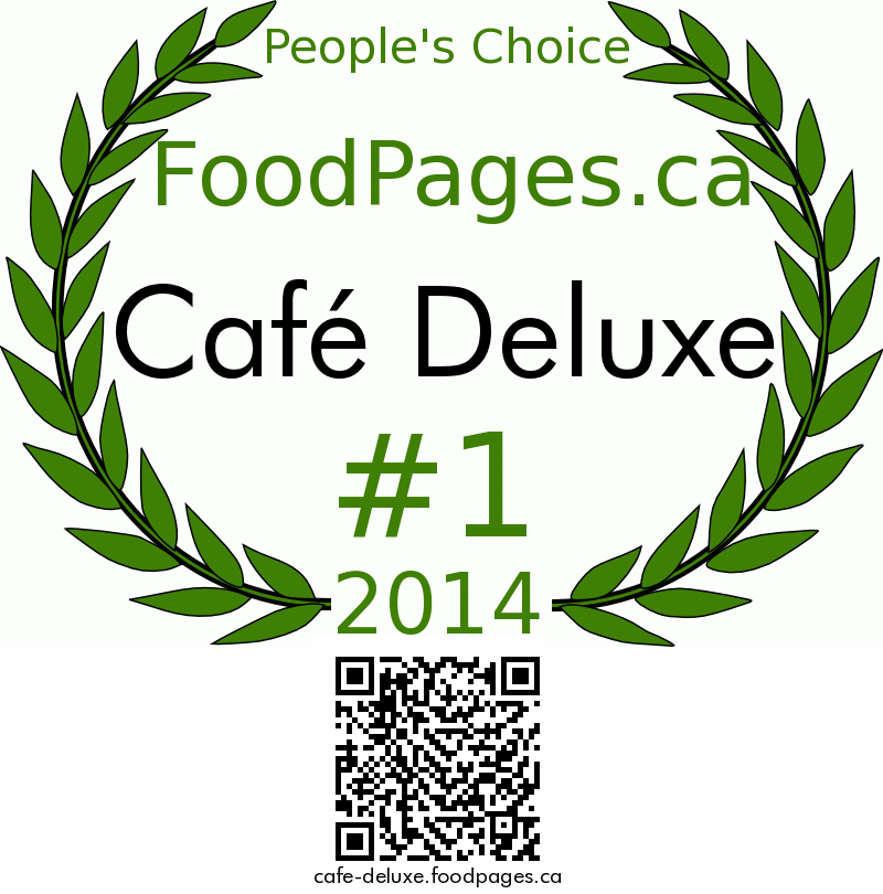Café Deluxe FoodPages.ca 2014 Award Winner