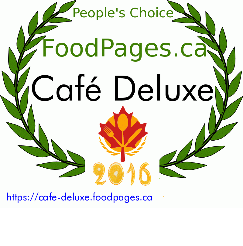 Café Deluxe FoodPages.ca 2016 Award Winner